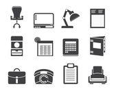 Silhouette Simple Business, office and firm icons — Stock Vector
