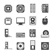 Silhouette Computer performance and equipment icons — Stock Vector