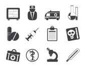 Silhouette Medical and healthcare Icons — Stock Vector