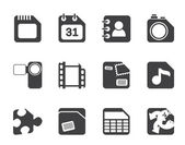 Silhouette Mobile Phone, Computer and Internet Icons — 图库矢量图片