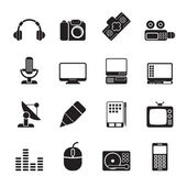 Silhouette Media equipment icons — Stock Vector