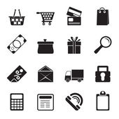 Silhouette Online shop icons — Stock Vector