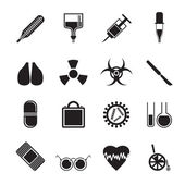 Silhouette collection of medical themed icons and warning-signs — Stock Vector