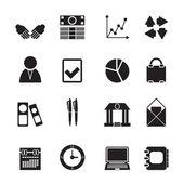 Icone di affari e ufficio di sagoma — Vettoriale Stock