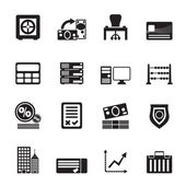 Silhouette bank, business, finance and office icons — Stock Vector