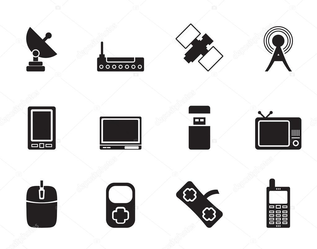 Silhouette technology and Communications icons — Stock ...  Silhouette tech...