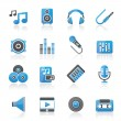 Music, sound and audio icons — Stock Vector