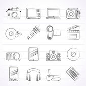 Media and technology icons — Vector de stock