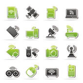 Wireless and communications icons — Stok Vektör