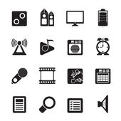 Silhouette Mobile phone performance, internet and office icons — Vector de stock