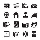 Silhouette Internet, Computer and mobile phone icons — Stock Vector