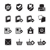 Silhouette Internet and Website buttons and icons — Stok Vektör