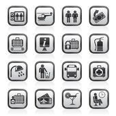 Airport, travel and transportation icons — Stock Vector