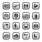 Icone aeroporto, viaggio e trasporto — Vettoriale Stock