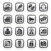 Blogging, communication and social network icons — Vector de stock