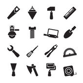 Silhouette Building and Construction Tools icons — Stock Vector