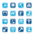 Mining and quarrying industry icons — Stockvektor