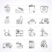 Garbage and rubbish icons — Stock Vector