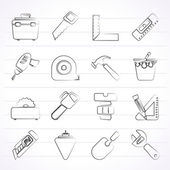 Construction objects and tools icons — Stok Vektör
