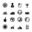 Silhouette Restaurant, food and drink icons — Stock Vector #40728483