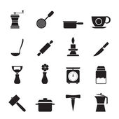 Silhouette Kitchen and household tools icons — Stock Vector