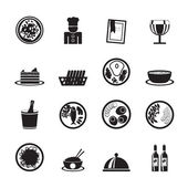 Silhouette Restaurant, food and drink icons — Stock Vector