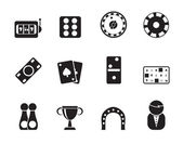 Silhouette gambling and casino Icons — Stock Vector