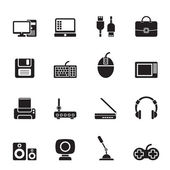Silhouette Computer equipment and periphery icons — Stock Vector