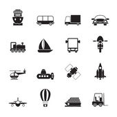 Silhouette Transportation, travel and shipment icons — Stock Vector