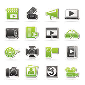 Movie and cinema icons — Stock Vector