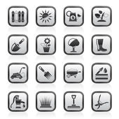 Gardening tools and objects icons — Stock Vector