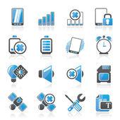 Mobiele telefoon teken pictogrammen — Stockvector