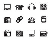 Silhouette electronics, media and technical equipment icons — Stock Vector