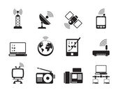 Silhouette communication and technology icons — Stok Vektör
