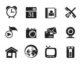 Silhouette mobile phone and computer icons — Wektor stockowy