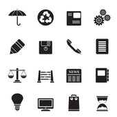 Silhouette Business and Office internet Icons — Stock vektor