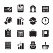 Silhouette Business and Office Realistic Internet Icons — Stok Vektör #43314133