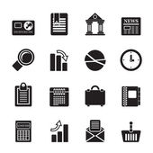 Silhouette Business and Office Realistic Internet Icons — Stock Vector