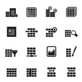 Silhouette Database and Table Formatting Icons — Stock Vector