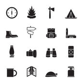Silhouette Tourism and Holiday icons — Stock Vector