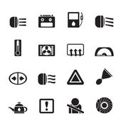 Silhouette Car Dashboard icons — Stock Vector
