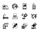 Silhouette communication, computer and mobile phone icons — Stockvektor