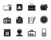 Silhouette Web Applications,Business and Office icons, Universal icons — Stock Vector