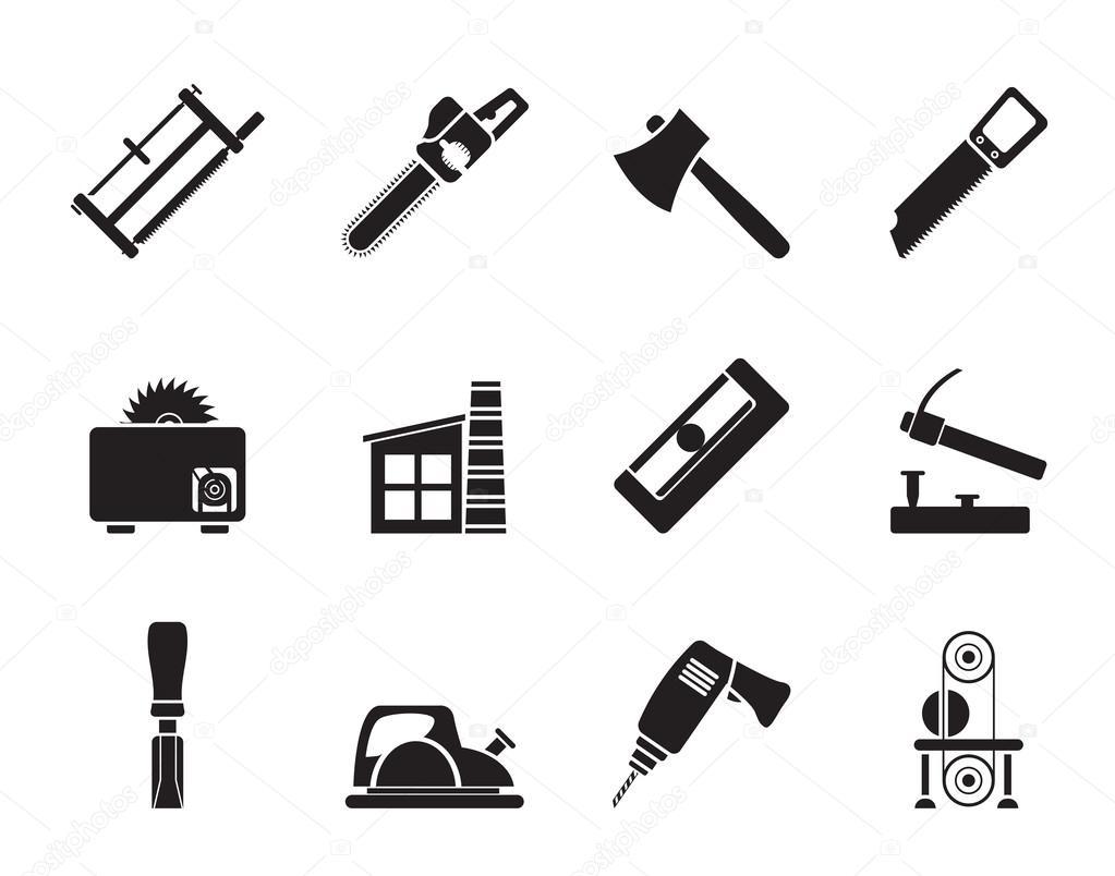 silhouette holzverarbeitende industrie und holzverarbeitung werkzeuge symbole stockvektor. Black Bedroom Furniture Sets. Home Design Ideas