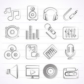 Music, sound and audio icons — Vetorial Stock