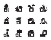 Silhouette home and house insurance and risk icons — Stock Vector