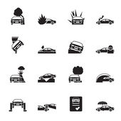 Silhouette car and transportation insurance and risk icons — Stock Vector