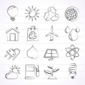 Ecology, nature and environment Icons — ストックベクタ