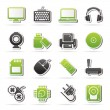 Computer peripherals and accessories icons — Stock Vector #45371125