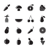 Silhouette Different kinds of fruits and Vegetable icons — Stock Vector